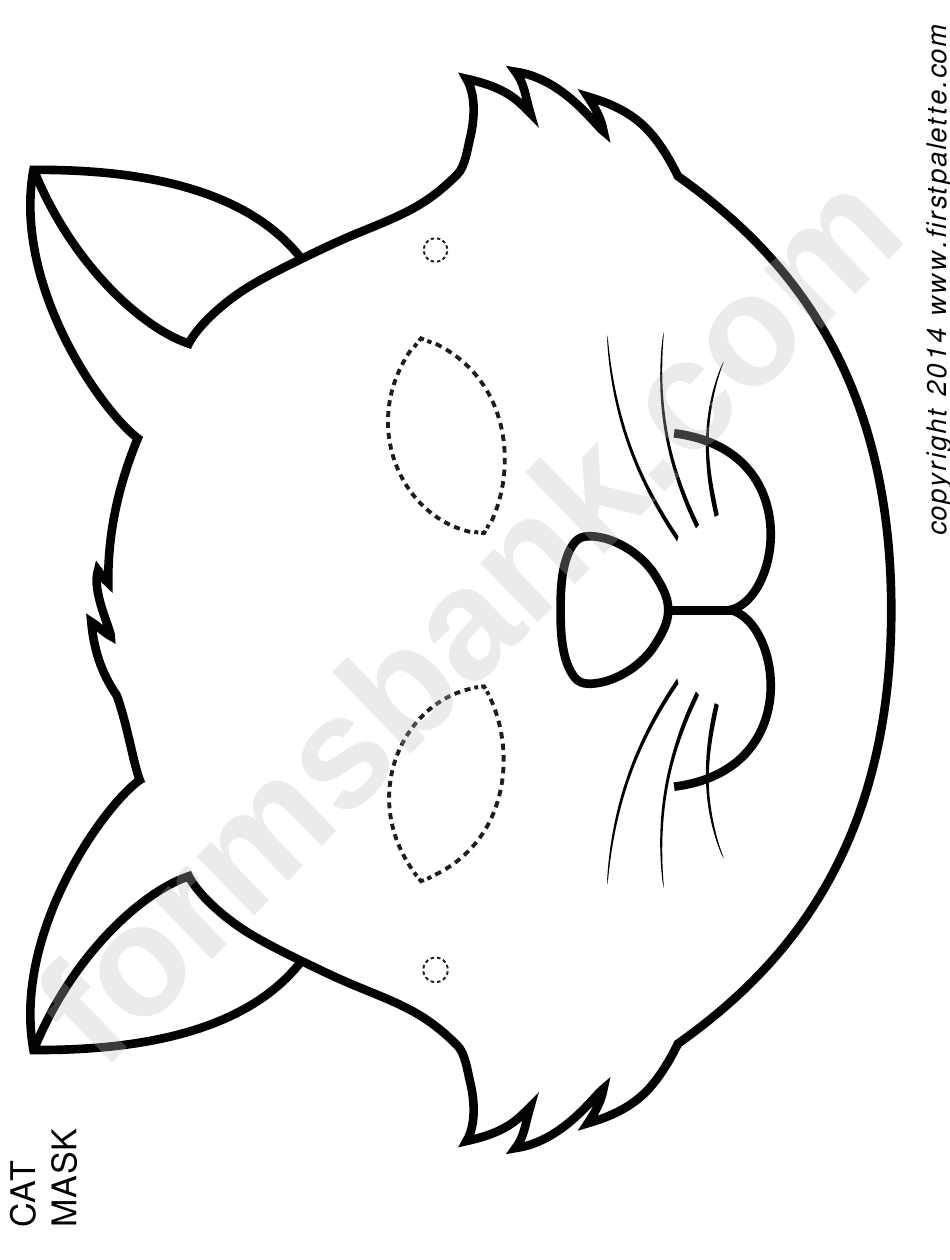 Cat Mask Coloring Template printable pdf download