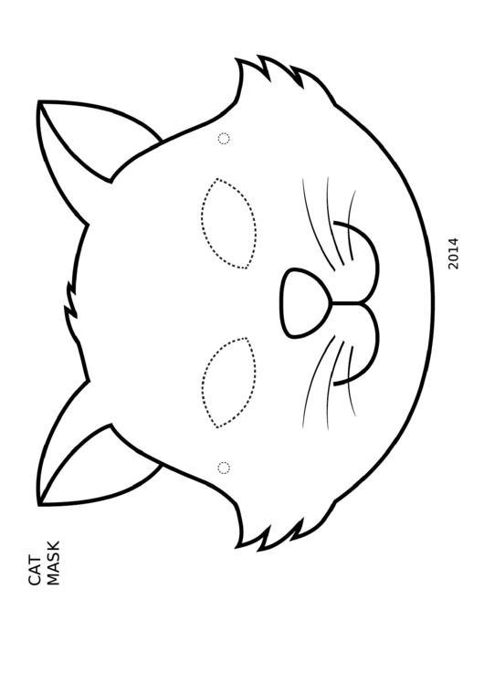 Cat Mask Coloring Template printable pdf download