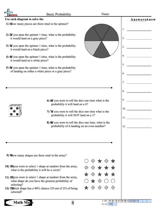Basic Probability Worksheet With Answer Key Printable