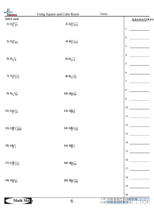'Using Square And Cube Roots' Math Worksheet printable pdf