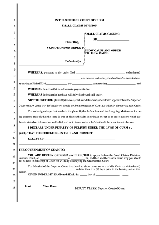 Fillable In The Superior Court Form Of Guam Small Claims Division printable pdf download