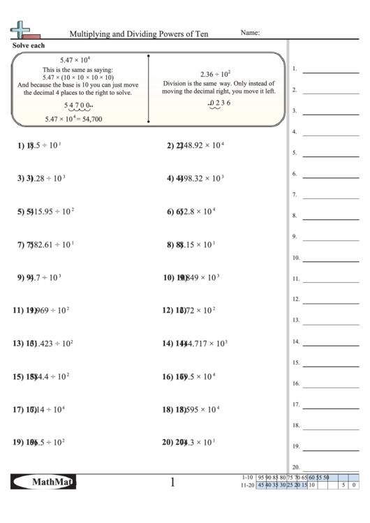 Multiplying And Dividing Powers Of Ten Worksheet Printable
