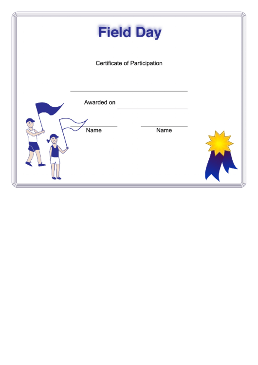 Field Day Certificate Templates printable pdf download