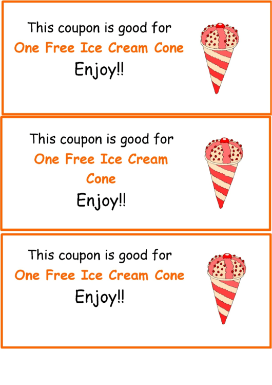 Ice Cream Coupon Template printable pdf download