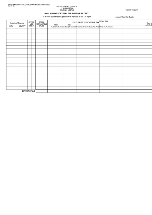 Top 20 Nc Sales And Use Tax Form Templates free to