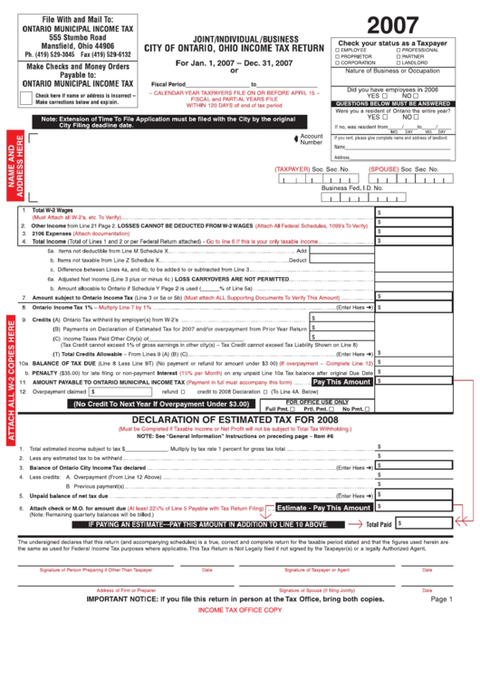 Joint / Individual / Business Income Tax Return Form - City Of Ontario - 2007 printable pdf download