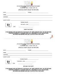 Form S1 - Special Event Sales Tax Return - City Of Pueblo ...