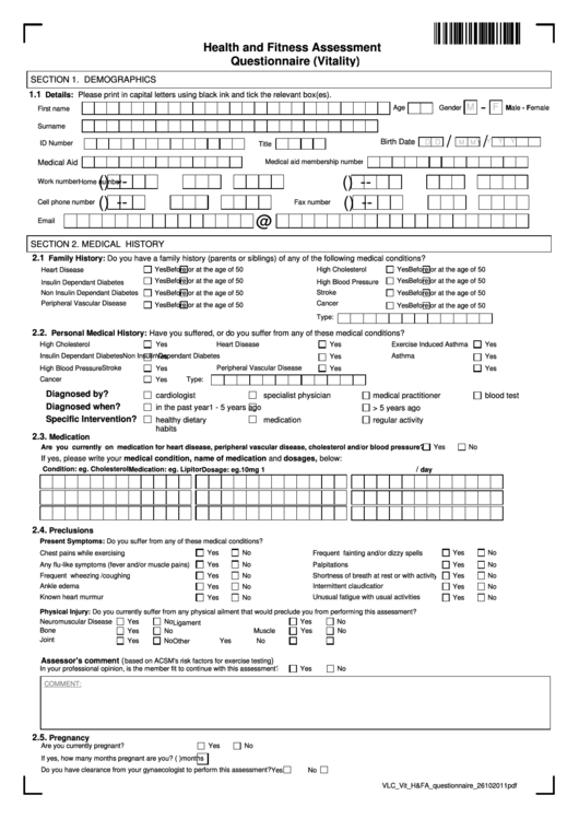 Health And Fitness Assessment Questionnaire (Vitality