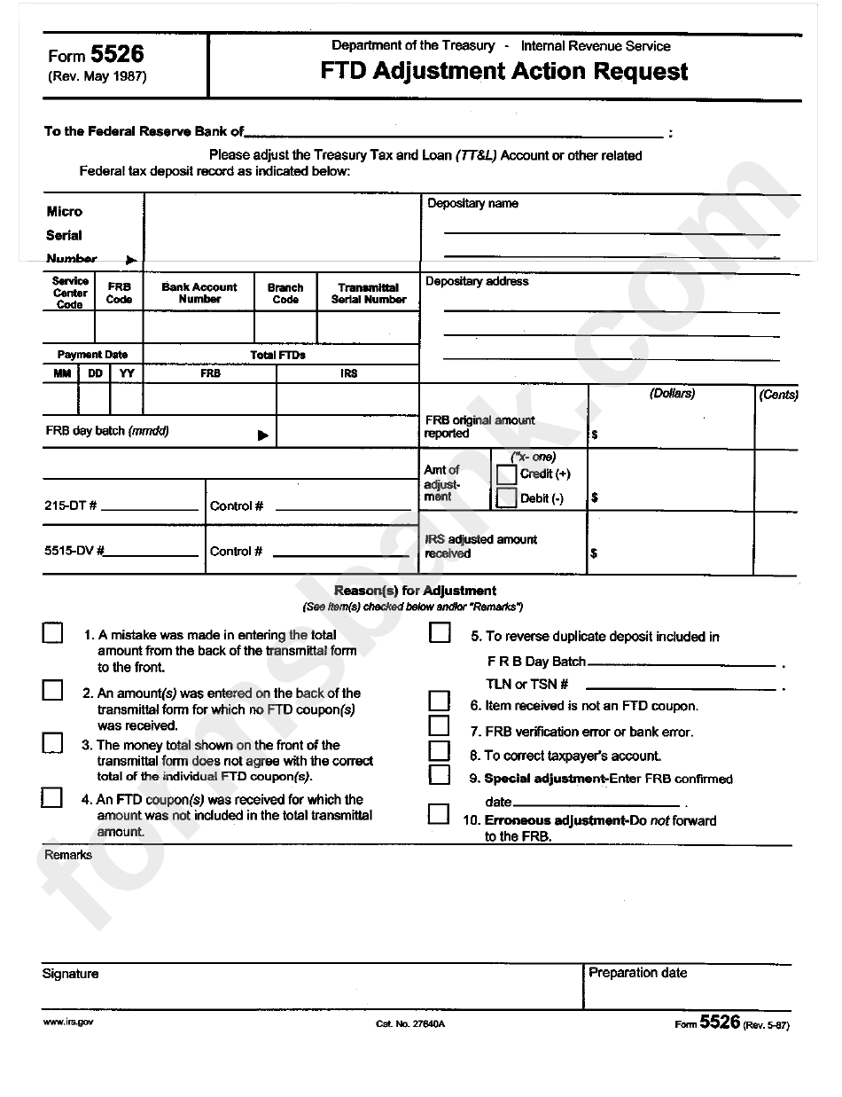 Form 5526 - Ftd Adjustment Action Request May 1987