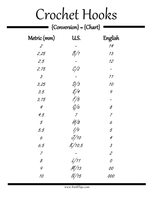 Crochet Hook Conversion Chart printable pdf download