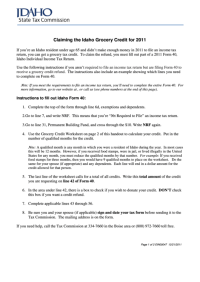 Fillable Grocery Credit Worksheet, Form 40 - Idaho ...