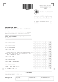 City Of Philadelphia School Income Tax Form - 1999 ...