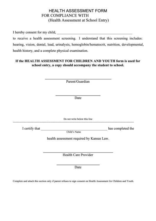 Health Assessment Form For Compliance With K.s.a. 72-5214 printable ...