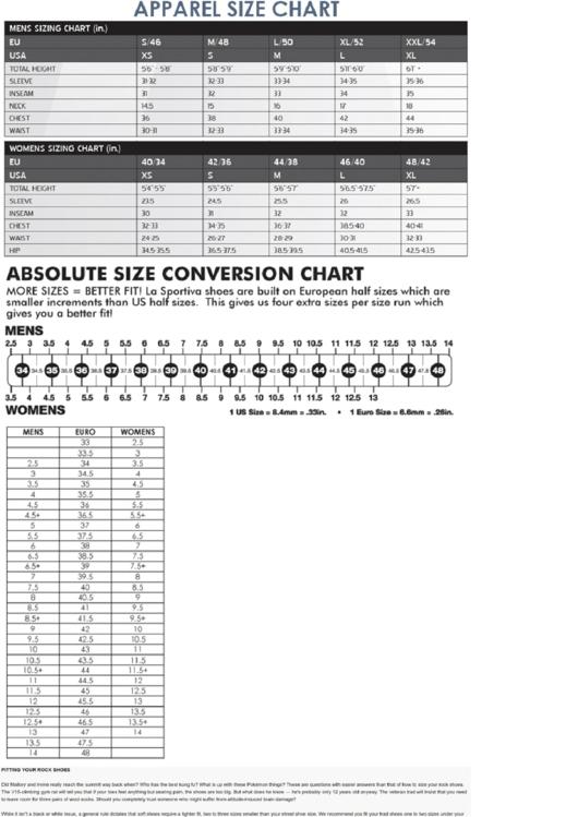 La Sportiva Apparel Size / Absolute Size Conversion Chart