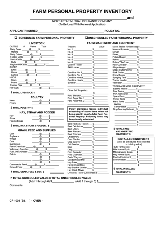 Fillable Farm Personal Property Inventory Form printable