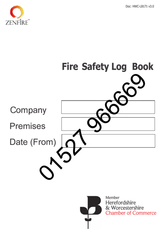 Fire Safety Log Book Template printable pdf download
