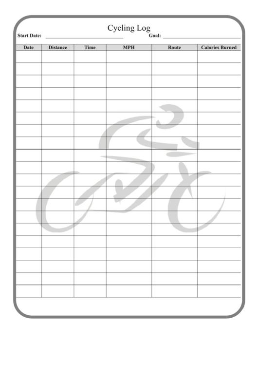 Cycling Log Template printable pdf download