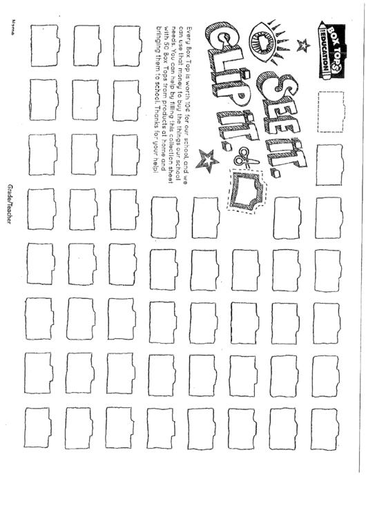 Box Top Collection Sheet printable pdf download