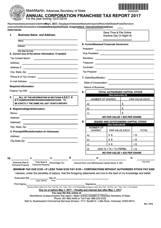 Fillable Annual Corporation Franchise Tax Report Form