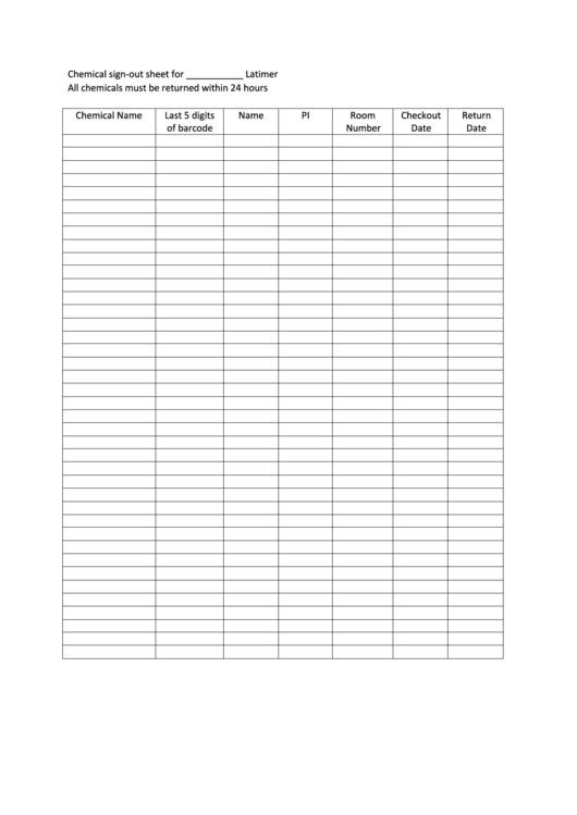 Chemical Sign Out Sheet Printable Pdf Download