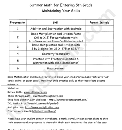 Summer Math For Entering 5th Grade - Maintaining Your Skills printable pdf  download [ 1229 x 950 Pixel ]