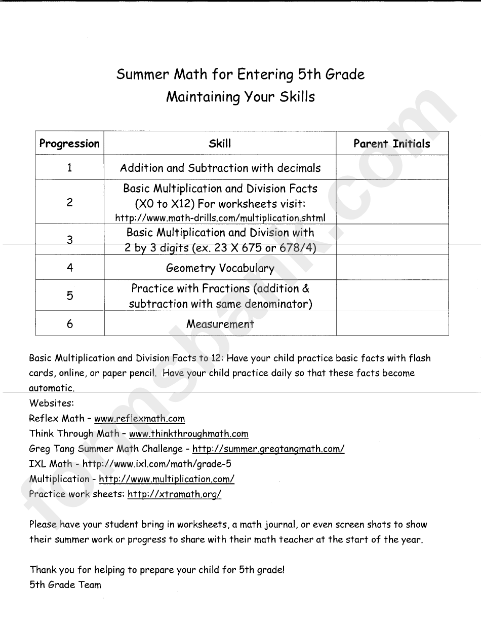 hight resolution of Summer Math For Entering 5th Grade - Maintaining Your Skills printable pdf  download