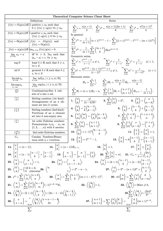 Top 12 Computer Science Cheat Sheets free to download in