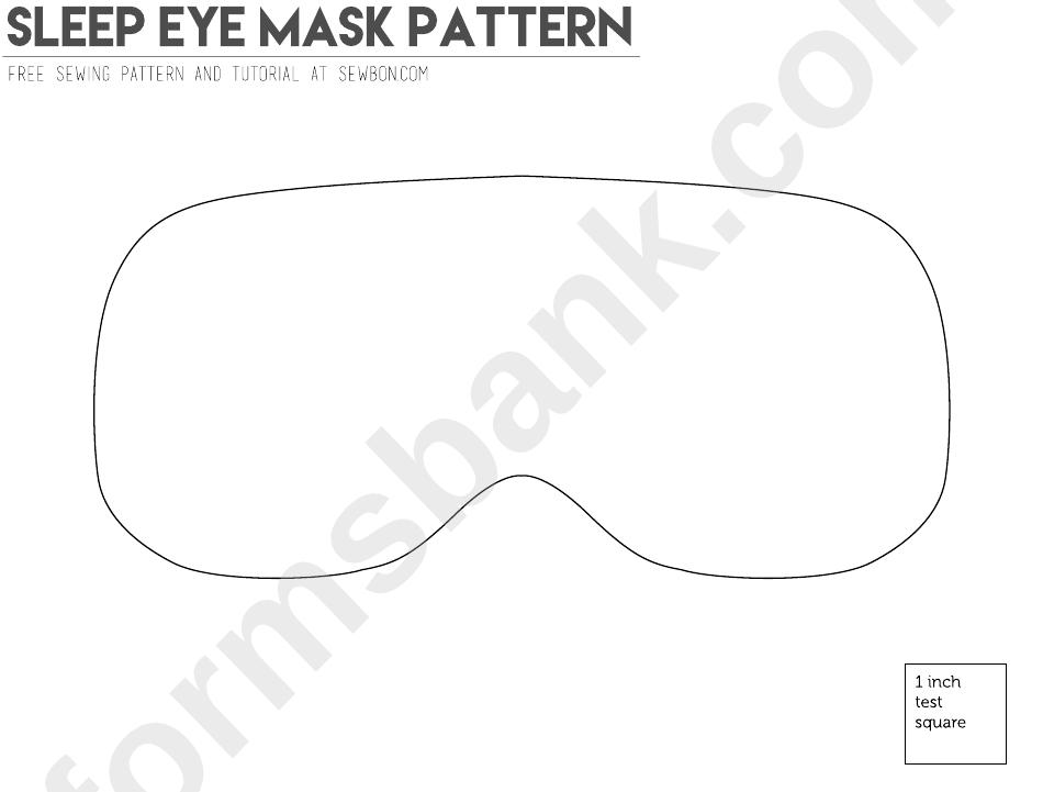 Sleep Eye Mask Pattern Template printable pdf download
