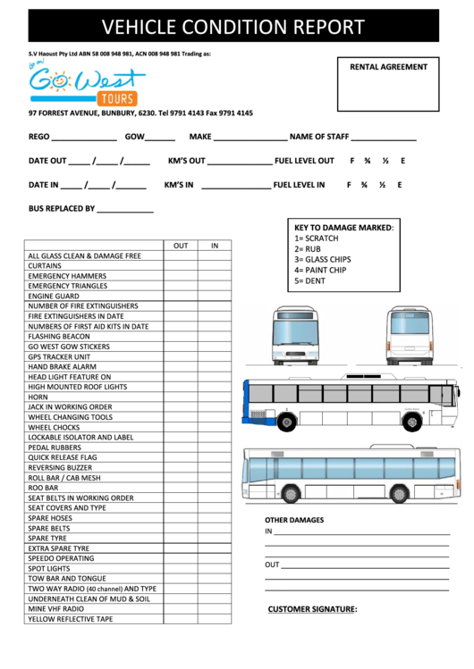 Vehicle Condition Report printable pdf download