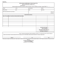 Fillable Form 13-9-a - Application For Refund Of State ...