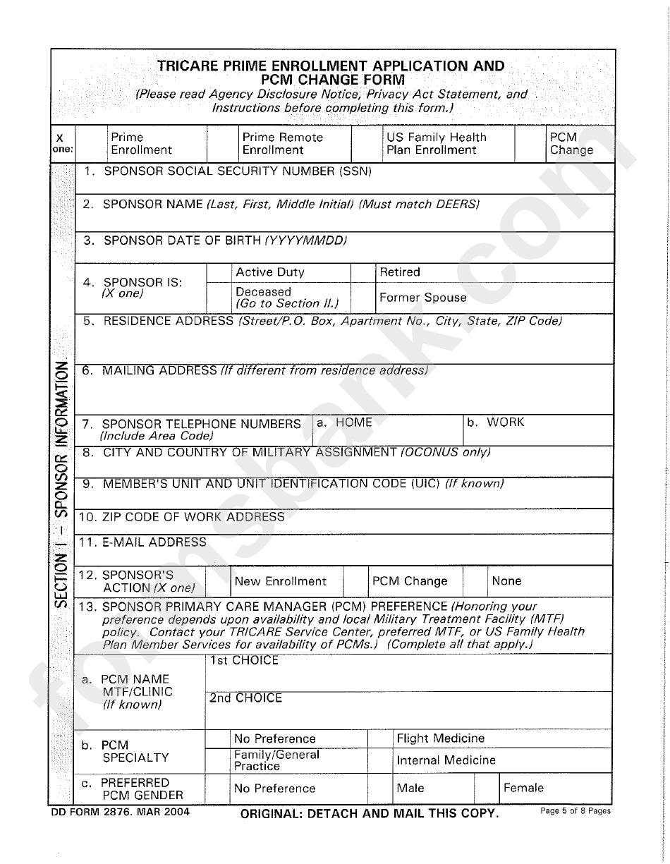 Dd Form 2876  Tricare Prime Enrollment Application And