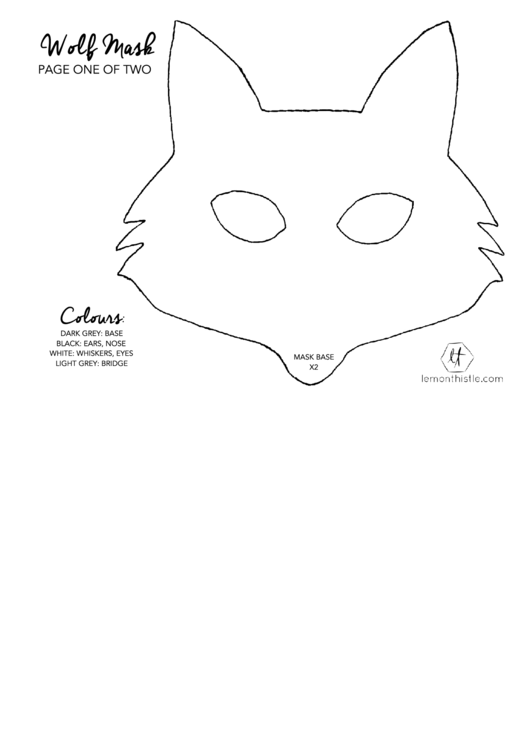 Wolf Mask Template printable pdf download