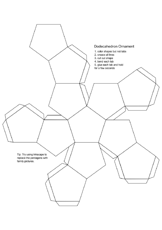 Dodecahedron Ornament printable pdf download