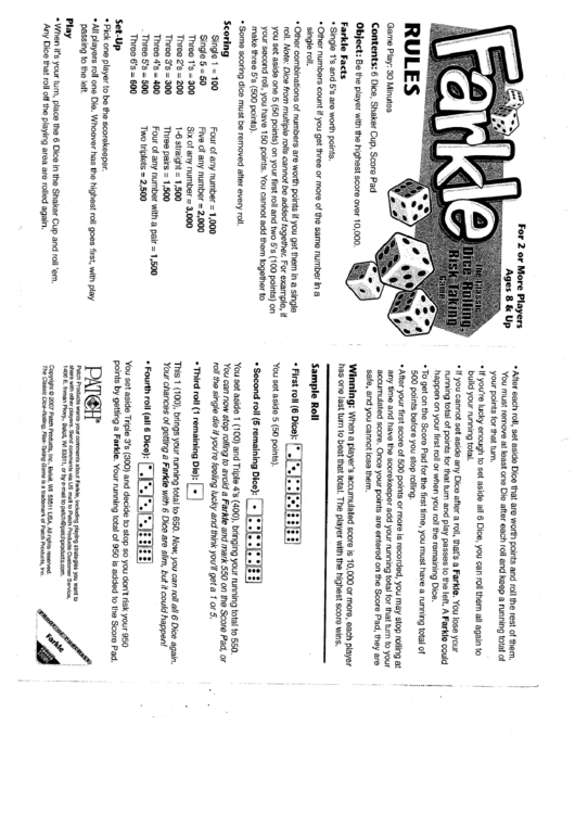 Top Farkle Score Sheets free to download in PDF format
