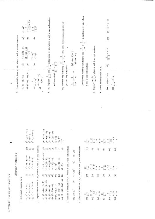 Advanced Higher Mathematics Worksheet With Answers