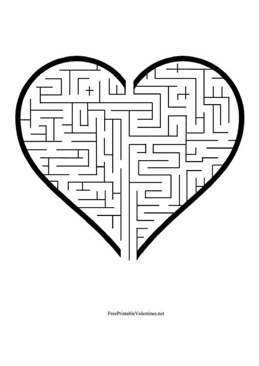 Valentine'S Heart Maze Template printable pdf download