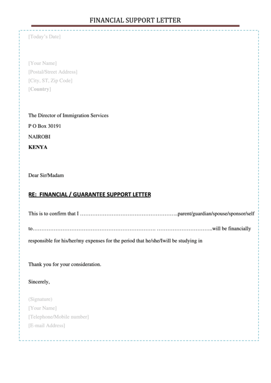 Financial Support Letter printable pdf download