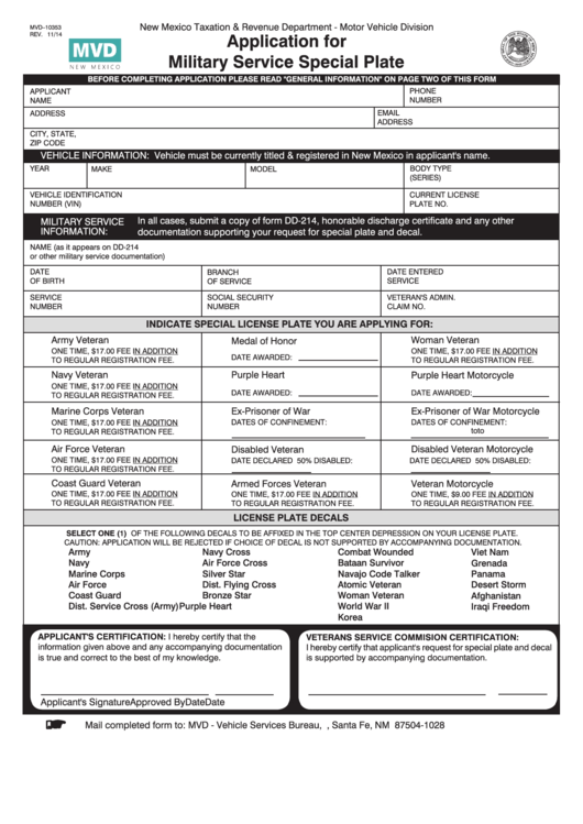 Fillable Form Mvd 10353 Application For Military Service Special Plate Printable Pdf Download