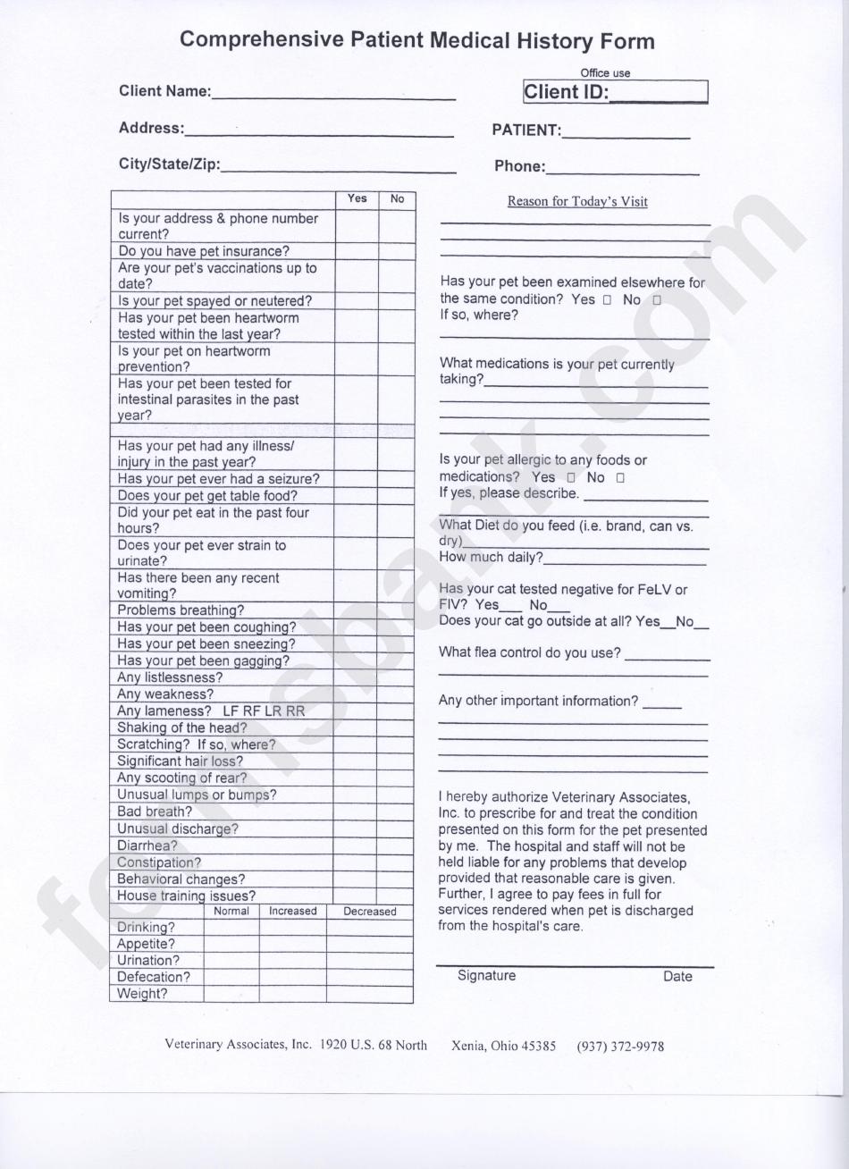 Comprehensive Patient Medical History Form printable pdf