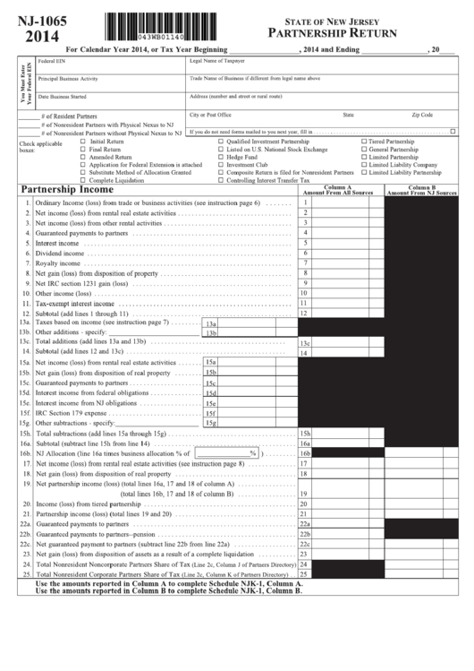 Top 10 New Jersey Form 1065 Templates free to download in