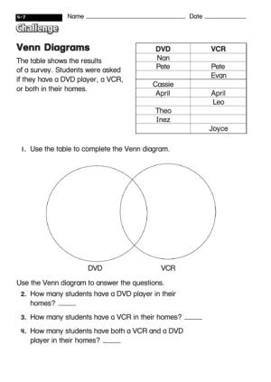 Venn Diagrams  Diagram Worksheet With Answers printable pdf download