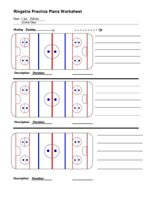 Ringette Practice Plans Worksheet printable pdf download