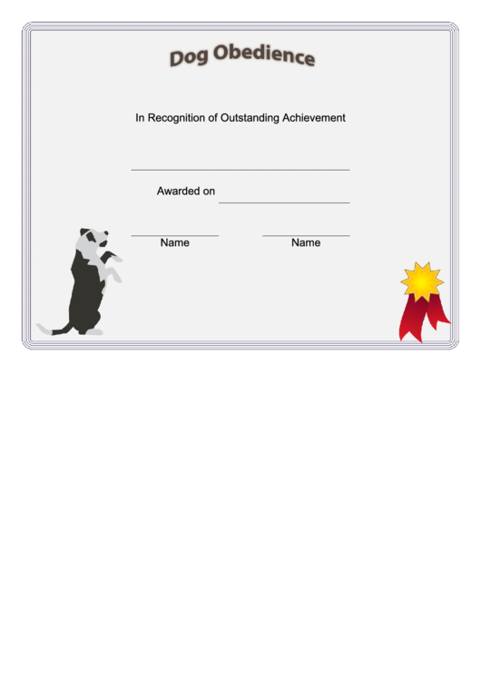 Dog Obedience Certificate printable pdf download