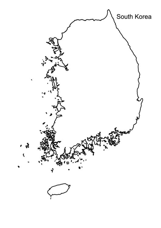 South Korea Outline Map printable pdf download