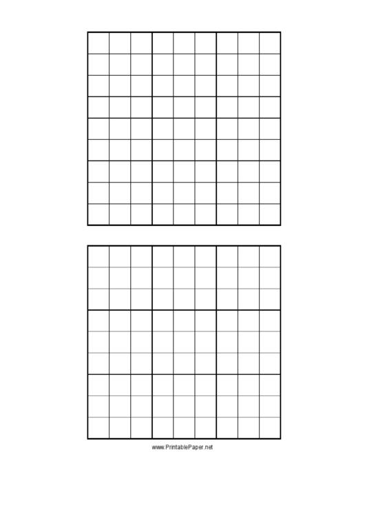 Sudoku Grid Template printable pdf download