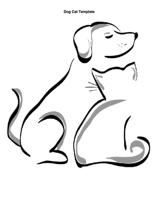 Dog Cat Silhouette Template printable pdf download