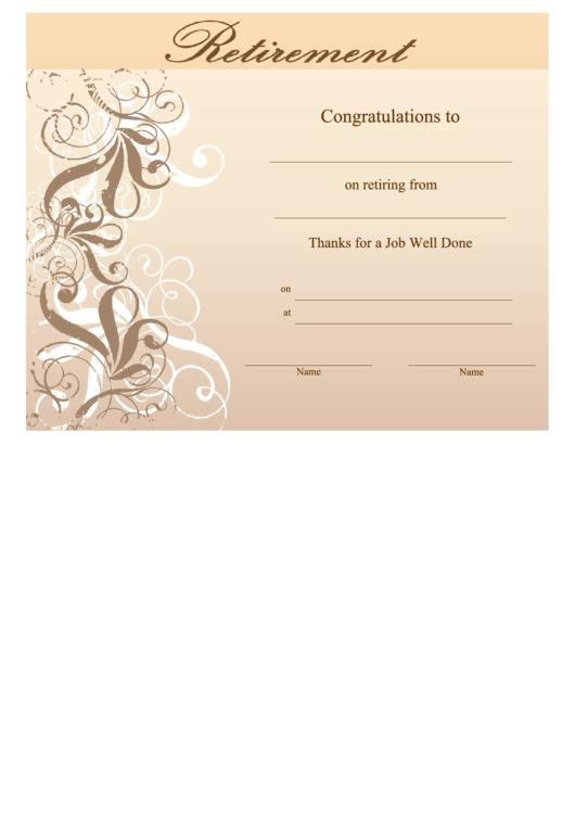 Retirement Certificate Template printable pdf download