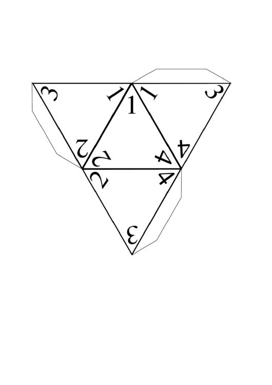 4-Sided Die Template printable pdf download