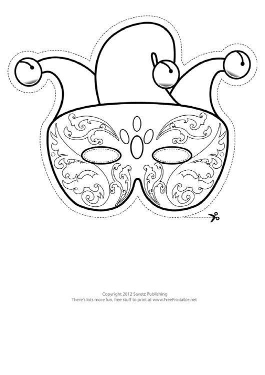 Mardi Gras Jester Outline Mask Template printable pdf download