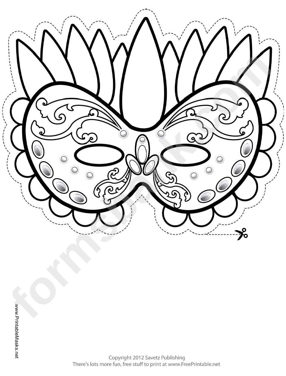 Mardi Gras Festive Outline Mask Template printable pdf